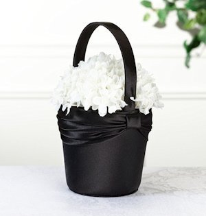 Black Sash Flower Girl Basket image
