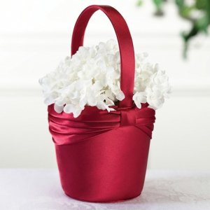 Red Satin Sash Flower Girl Basket image