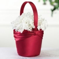 Red Satin Sash Flower Girl Basket
