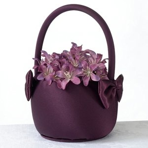 Plum Satin Flower Girl Basket image