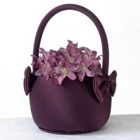 Plum Satin Flower Girl Basket