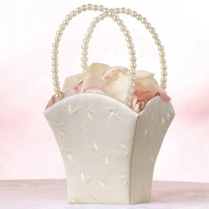 Elegant Ivory Satin Flower Girl Basket image