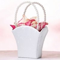 Elegant White Wedding Flower Basket