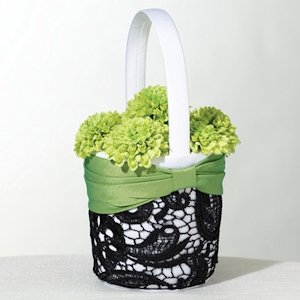 Green & Black Flower Girl Basket image
