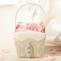 Vintage Gold Lace Flower Basket