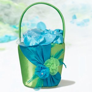 Vibrant Blue & Green Flower Girl Basket image