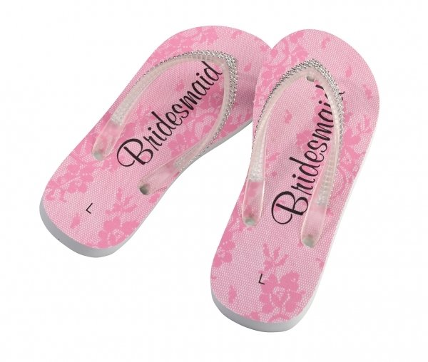 d77e468f4b151 Bridal Party Flip Flops (3 Designs) image. Maid of Honor Shown