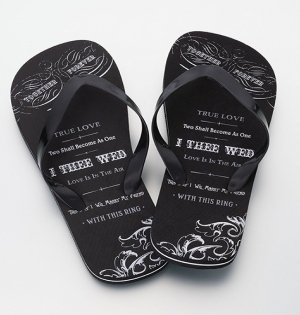 Just Married Honeymoon Groom Flip Flops image