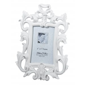 White Scroll 4 x 6 Photo Frame image