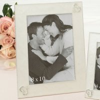 Ivory 8X10 Twin Hearts Picture Frame