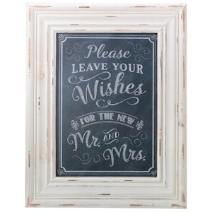 Wishes Framed Chalkboard Style Guest Book Sign image