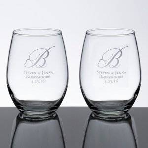 Stemless Wedding Wine Glass Set (5 Personalized Designs) image