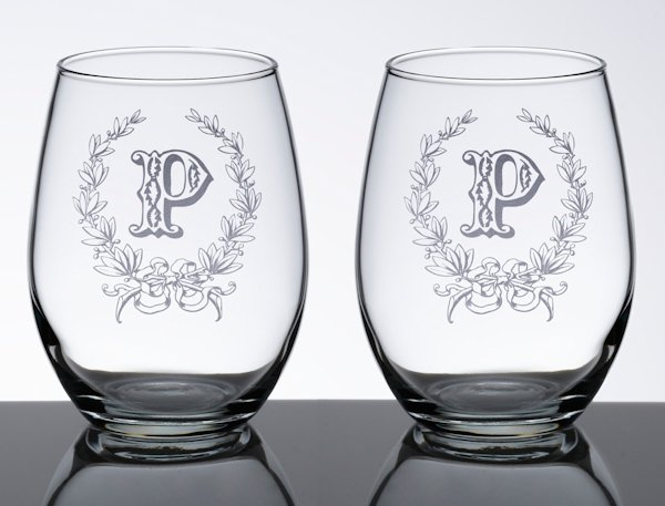 Stemless Wedding Wine Glass Set 5 Personalized Designs