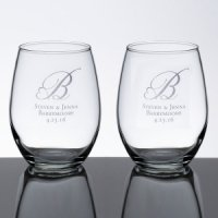 Stemless Wedding Wine Glass Set (5 Personalized Designs)