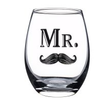Mr Mustache or Mrs Lips Stemless Wine Glass