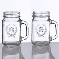 Wedding Mason Jar Mugs (Set of 2 - 2 Personalized Designs)