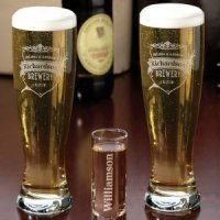 Beer Pilsner Glass Set (2 Personalized Design Options)