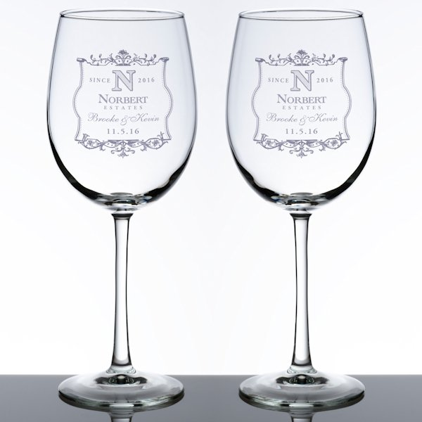 Wedding Wine Glass Set 5 Personalized Design Options
