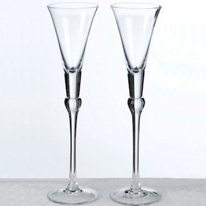 Clear Stem Tall Wedding Toast Flutes image