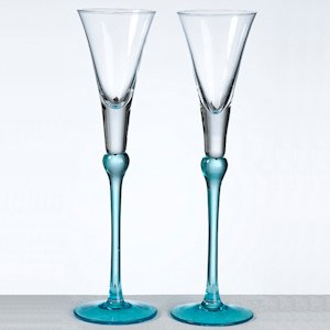 Aqua Stem Tall Toasting Flutes Set image