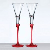 Red Stem Tall Toasting Flutes