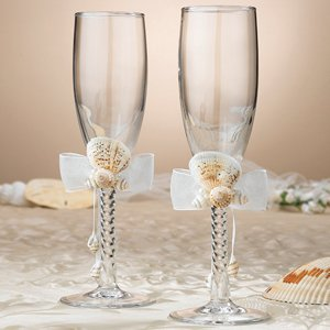 Seaside Ivory Beach Wedding Toasting Glasses image