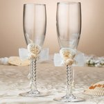 Seaside Ivory Beach Wedding Toasting Glasses