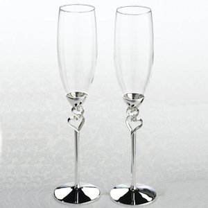 Silver Heart Wedding Flutes Set image