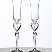 Dangling Jewel Toasting Glasses for Weddings
