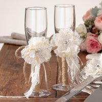Burlap and Lace Toasting Glasses