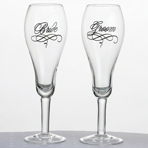 Script Text Bride & Groom Toasting Glasses image