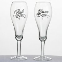 Script Text Bride & Groom Toasting Glasses
