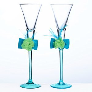 Vibrant Blue & Green Toasting Flutes image
