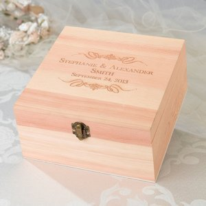 Wooden Wedding Wish Card Box (7 Personalized Designs) image