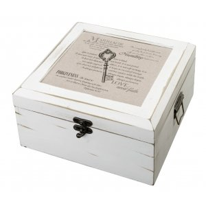 Christian Wedding Antique White Wish Card Box image