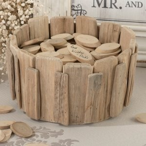 Wedding Wishes Wood Basket image