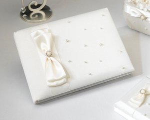 Scattered Pearl Ivory Wedding Guest Book image