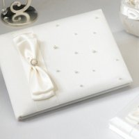 Scattered Pearl Ivory Wedding Guest Book