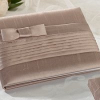 Taupe Bow Pleated Silk Guestbook