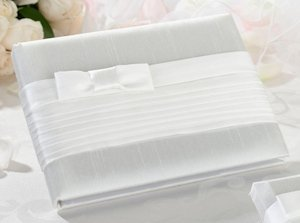 White Bow Pleated Silk Guestbook image