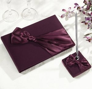Plum Satin Guestbook & Pen Set image