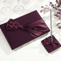 Plum Satin Guestbook & Pen Set
