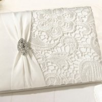 Cream Vintage Lace Wedding Guestbook