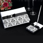 Black Damask Guest Book & Pen Set