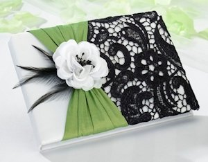 Green & Black Wedding Guestbook image