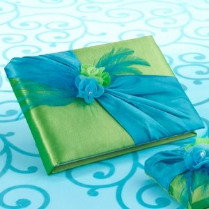 Vibrant Blue & Green Wedding Guest Book image