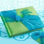 Vibrant Blue & Green Wedding Guest Book