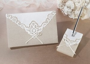 Country Lace Guestbook and Pen Set image