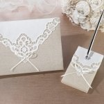 Country Lace Guestbook and Pen Set