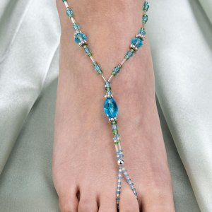 Beaded Aqua Foot Jewelry - One Pair image